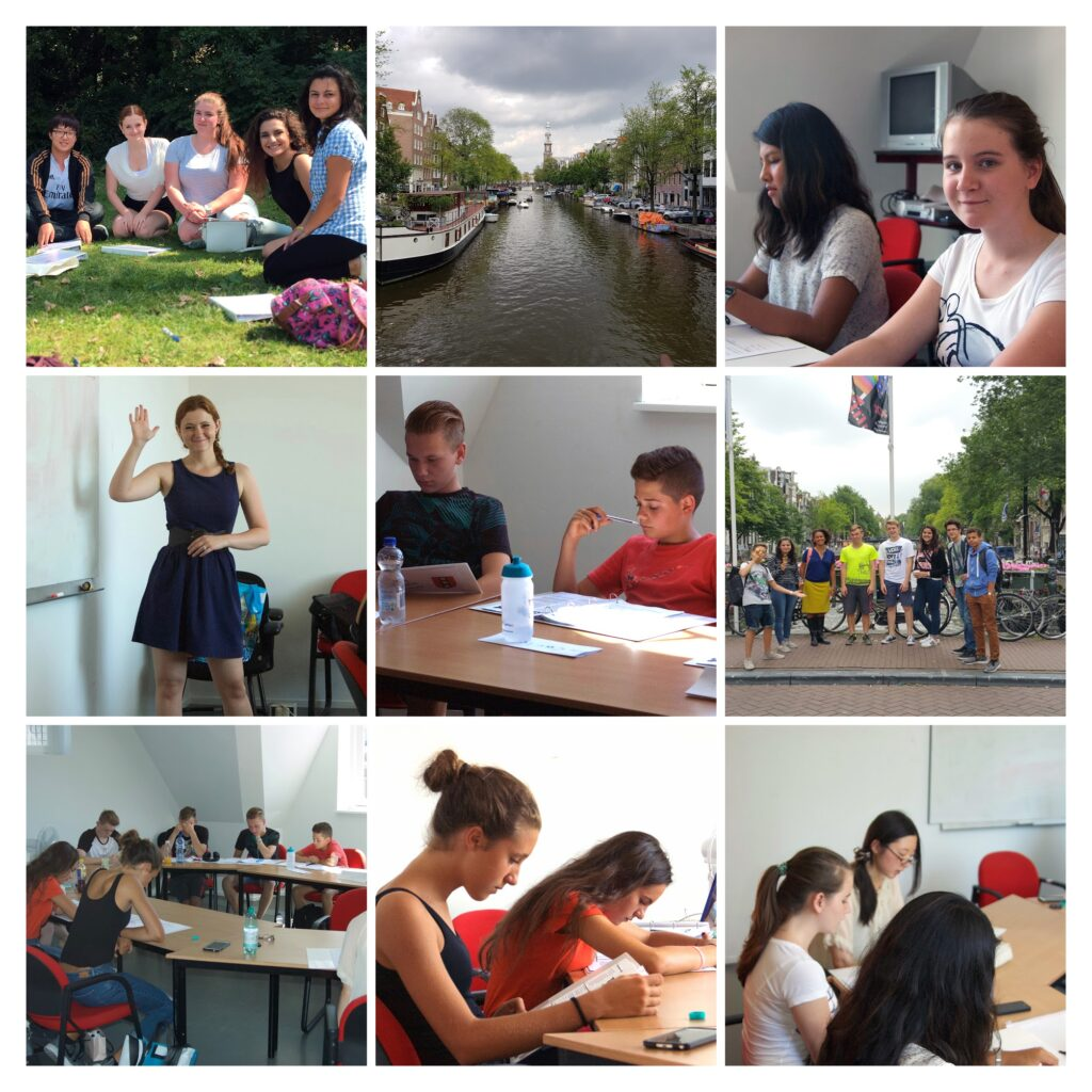 Collage of teens studying English